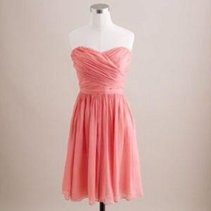 J Crew   Arabella Silk Coral Strapless Dress